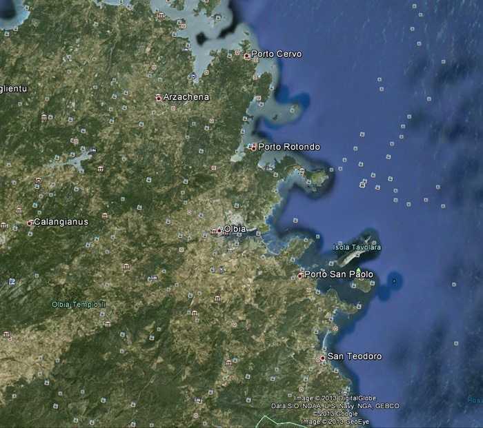 Olbia'nın Google Earth'den uydu haritası görüntüsü