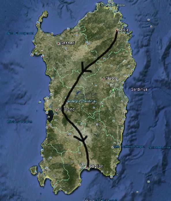 Sardinya Adası Olbia - Cagliari rotamız - Google Earth uydu görüntüsü