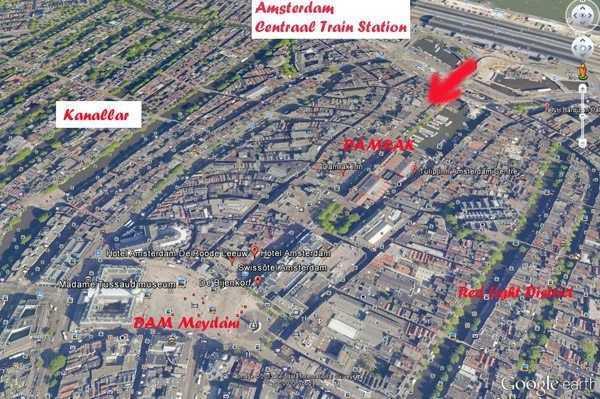 Amsterdam Tren Garından Dam Meydanına Google Earth Görüntüsü