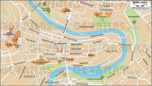 Bern haritası - © geoatlas.com