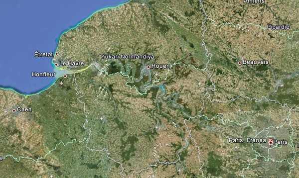 Normandiya Bölgesinin Google Earth görüntüsü