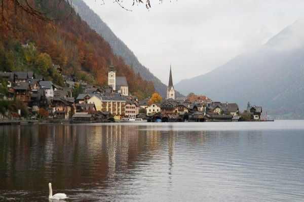 Hallstatt Gölü ve kasabanın sevimli evleri