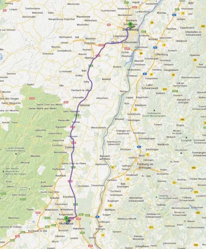 Alsaz Şarap Rotası - © Google Maps