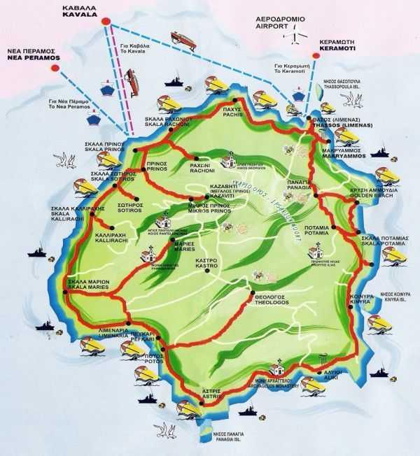 Otelimizin verdiği Thassos Adası Haritası