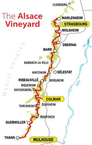 Alsace Şarap Rotası Haritası - © alsace-wine-route.com