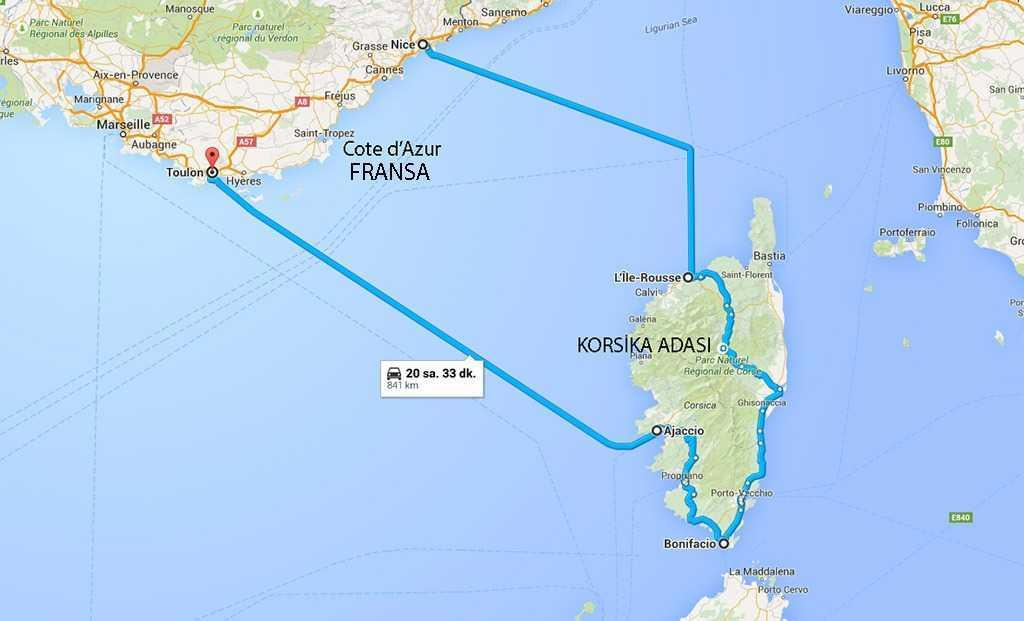 Fransa ve Korsika Adası © Googlemaps