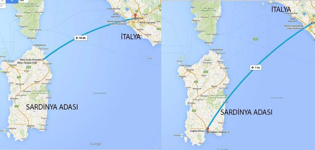 İtalya ve Sardinya Adası © Googlemaps