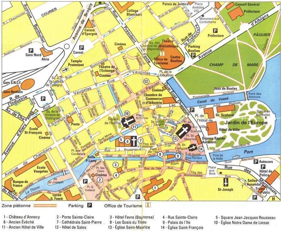 Annecy şehir haritası © mappery.com