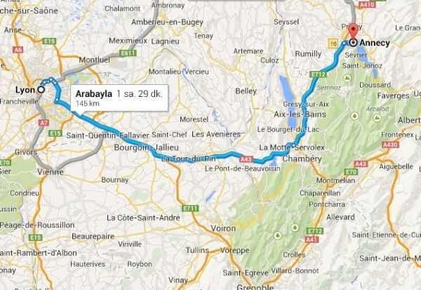 Annecy - Lyon arası mesafe  © Google Maps