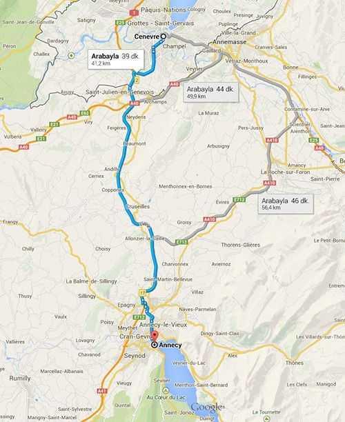 Annecy - Cenevre arası mesafe  © Google Maps
