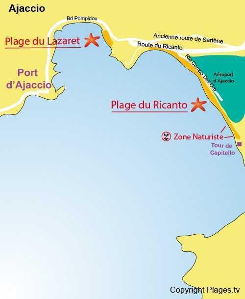 Ajaccio plajları (plages.tv haritası)