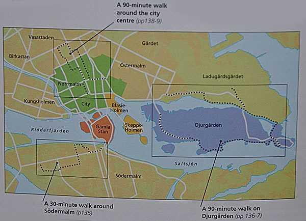 """Eyewitness Travel – Stockholm"""" Rehber Kitabındaki adaların ve yürüyüş rotalarının genel görünüşü...  (Eyewitness Travel – Stockholm - © DK - Dorling Kindersley Yayınevi - 2010)"""
