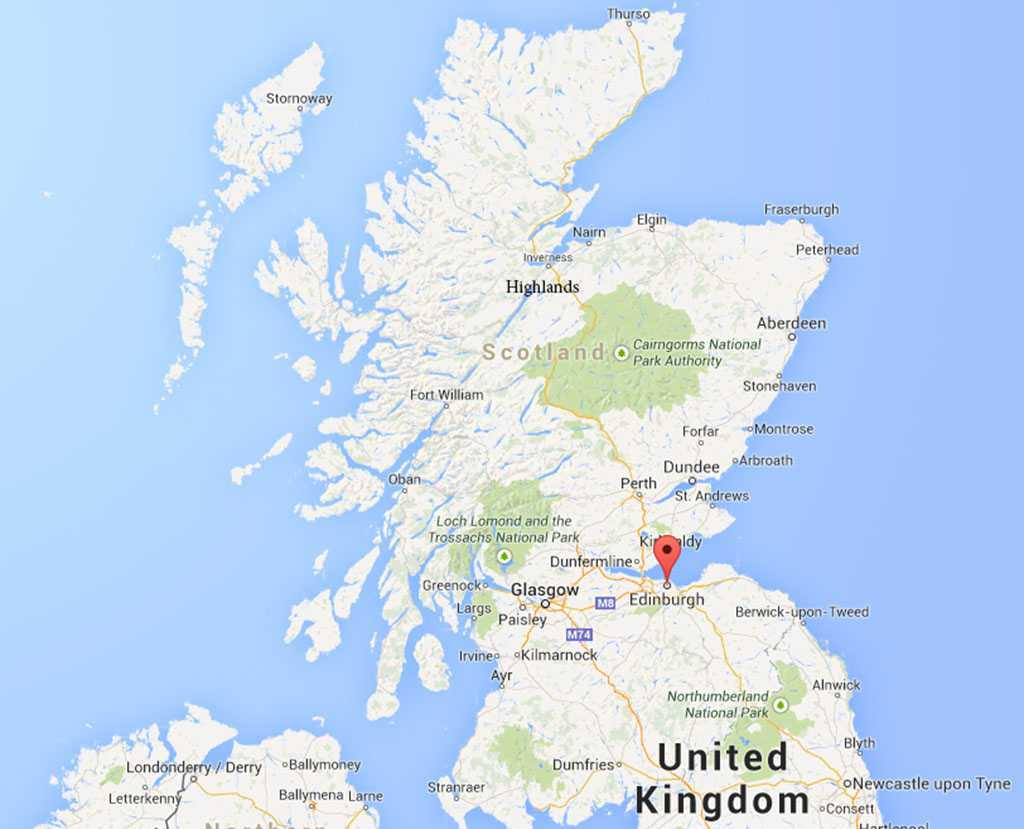 İskoçya - Edinburgh & Highlands - © Google Maps