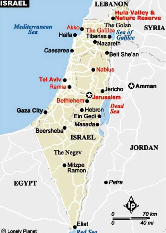 İsrail Haritası - © Lonely Planet