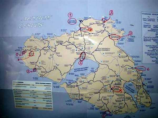 Midilli Adası Haritası