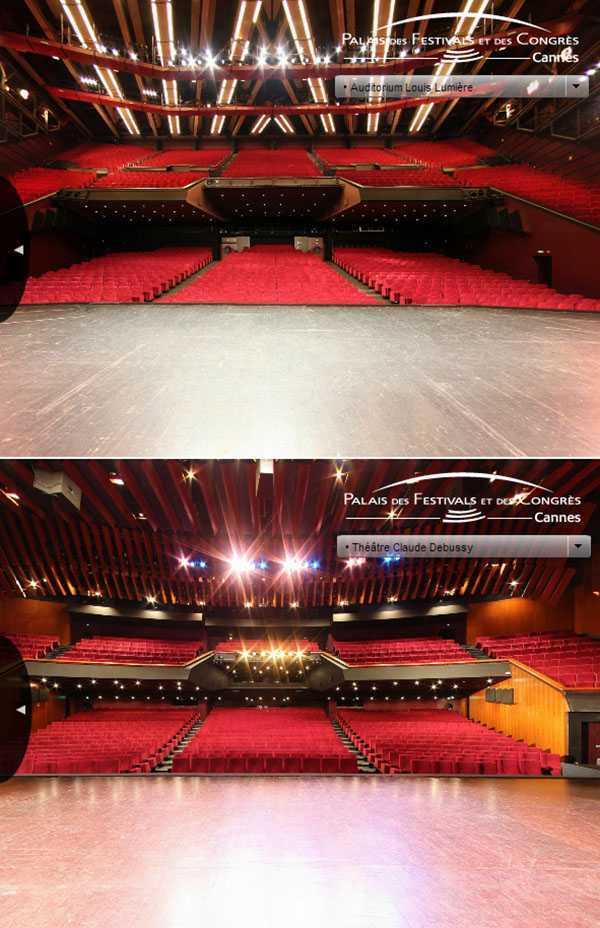 Auditorium Louis Lumière ve Théâtre Claude Debussy © palaisdesfestivals.com