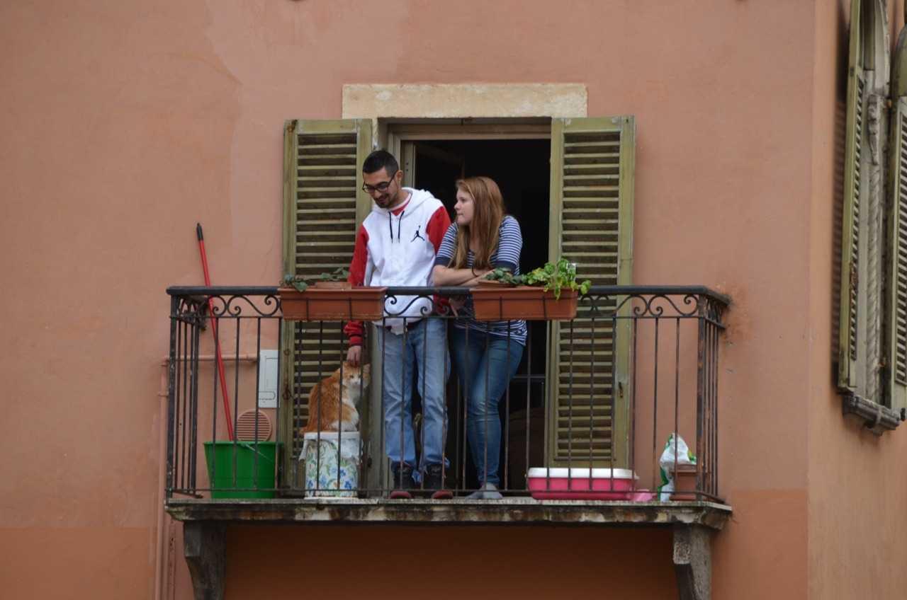 Verona'da şirin bir kedili çift…