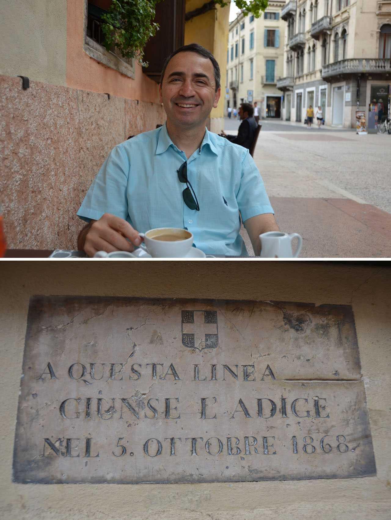 Sel seviyesini gösteren tabela Murat'ın boynuna dek geliyor… Porta dei Borsari - Caffe Rialto…