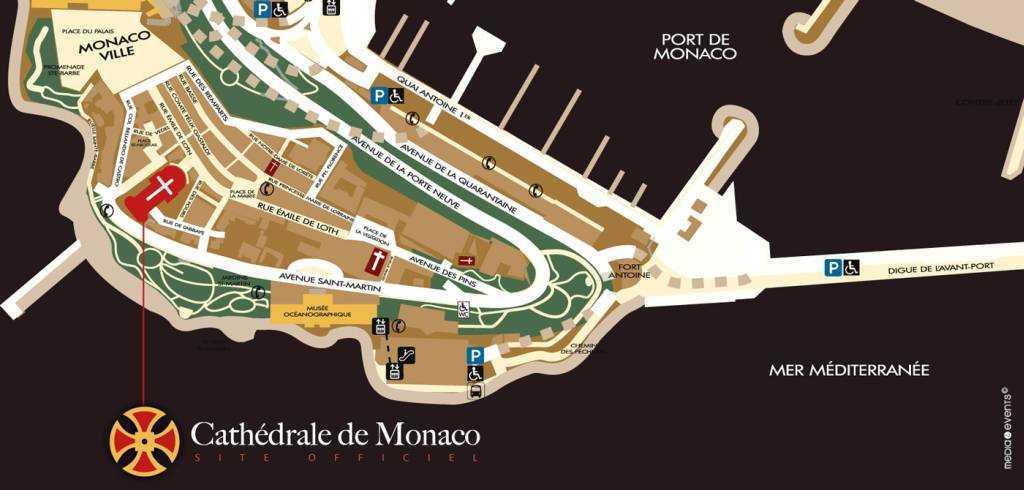 Monako Katedralinin yeri