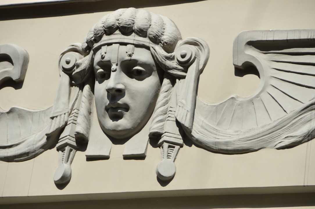 Alberta iela 4 adresindeki Art Nouveau binanın cephe detayı – 1904, Mimar Mihails Eizenšteins…