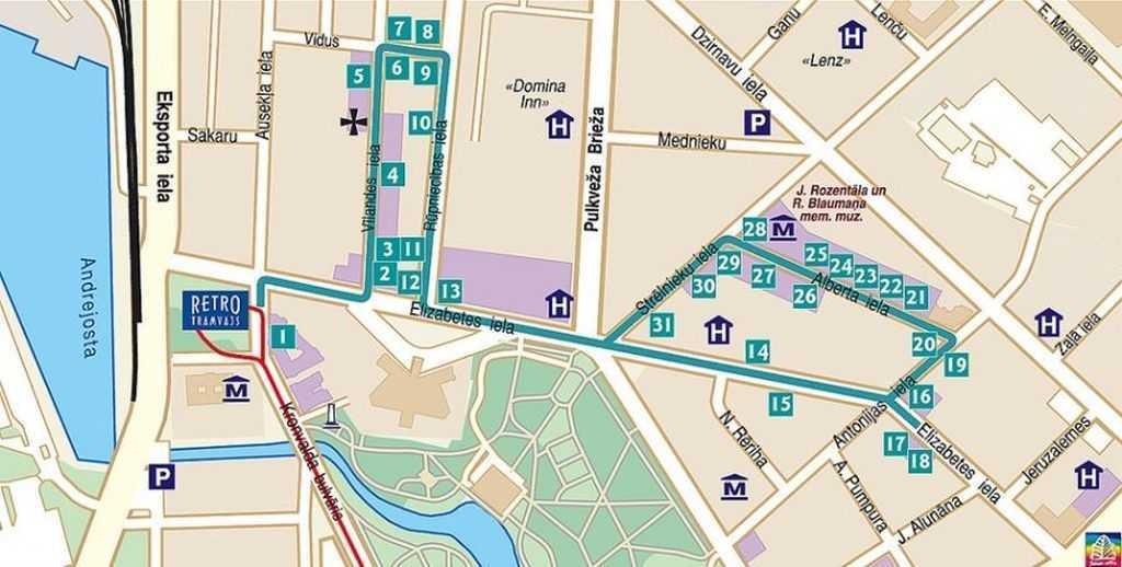 Art Nouveau binaların yerleşimlerini gösterir plan… (Harita jugendstils.riga.lv sitesinden alınmıştır. Bölüm - Interactive map: The jewels of Riga Art Nouveau)