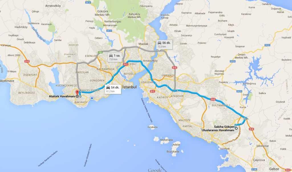 İstanbul'daki iki havaalanının konumları ve birbirlerine uzaklıkları