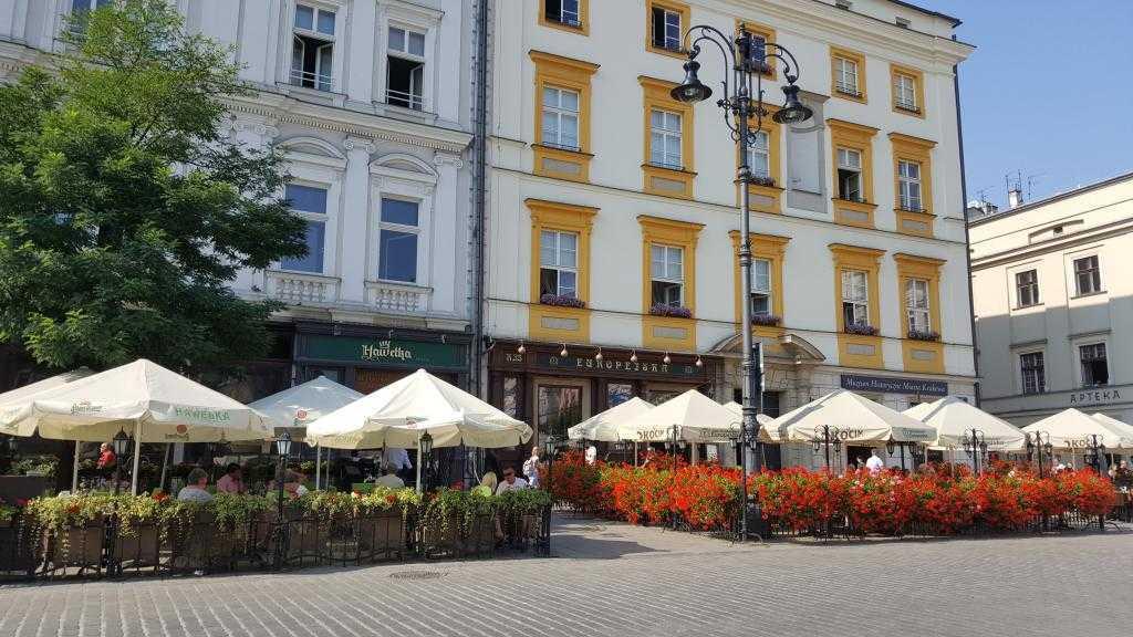 Krakow ana meydandaki kafe ve restoranlar