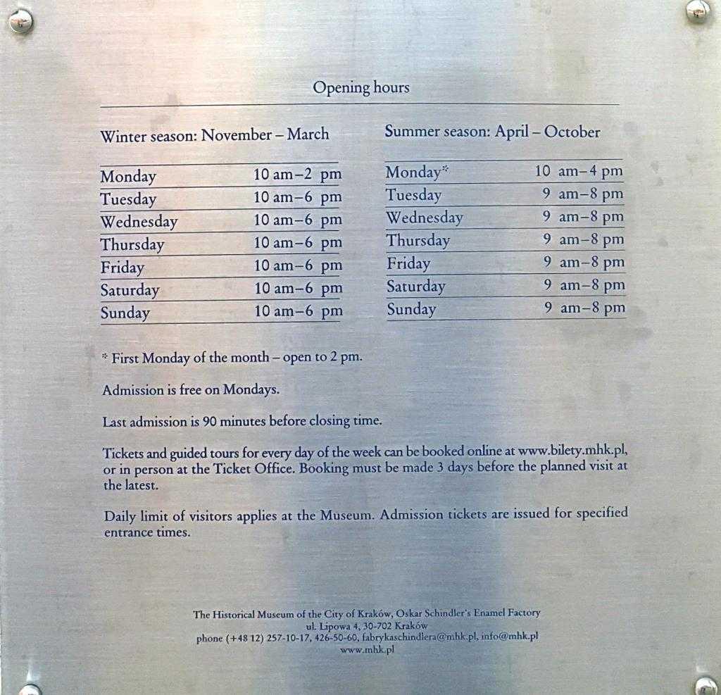 Oskar Schindler'in Fabrikası - Müze açılış kapanış saatleri