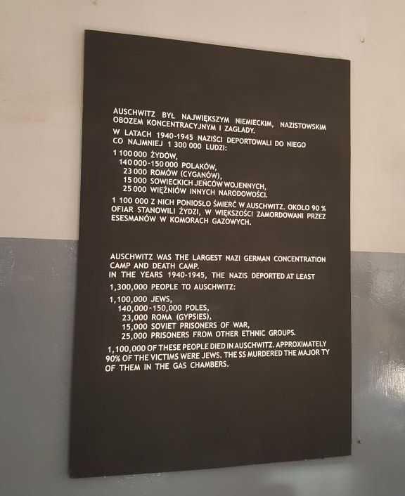Auschwitz Kampında ölen insanların sayılarını gösteren tabela
