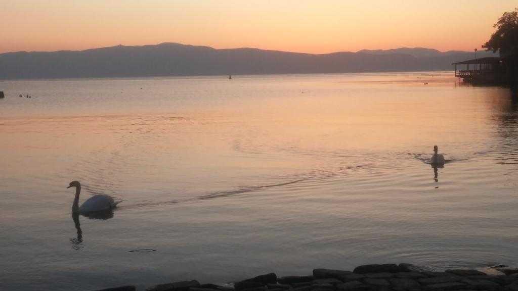 Ohrid'de gün batımı … Ohrid, Makedonya