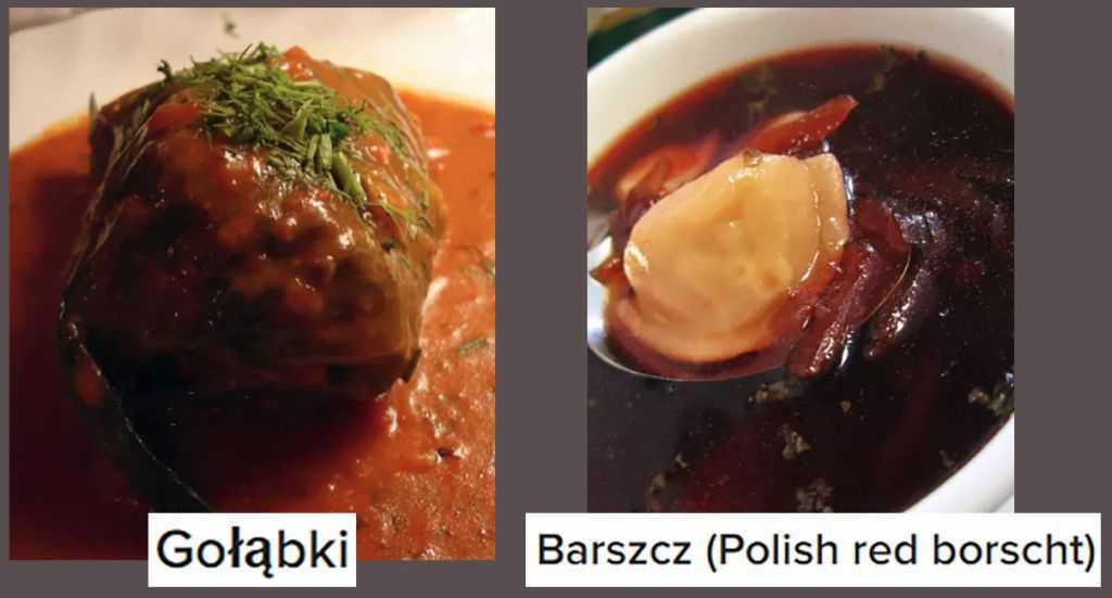 Lahana sarmasının Polonya versiyonu ile kırmızı pancar çorbası
