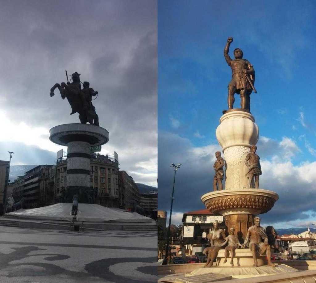 Büyük İskender Heykeli ve köprünün karşısında bulunan babası Kral Philip'in heykeli Makedonya Meydanı, Üsküp